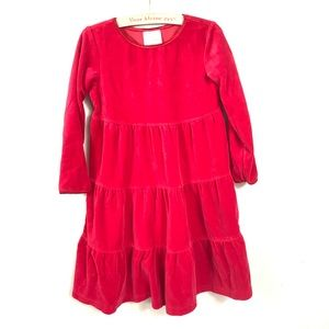 HANNA ANDERSSON RED VELVET TIERED DRESS SIZE 110